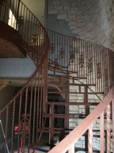Steel sweeping staircase